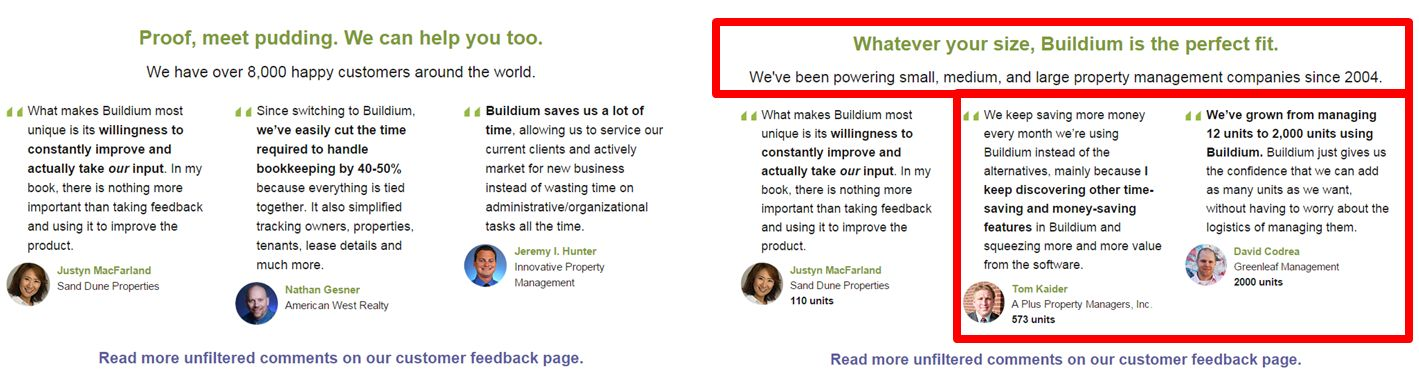 Changing the testimonial copy on the homepage