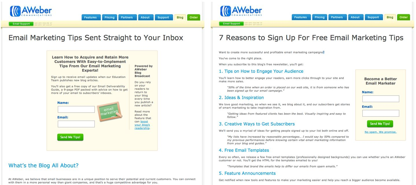 Adding 'reasons to subscribe' to the newsletters signup page