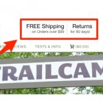 Showing free shipping and free returns in the header