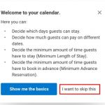 Removing 'I want to skip this' from the popup for the calendar function