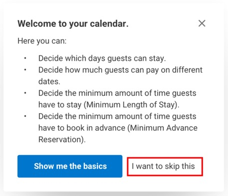 Removing 'I want to skip this' from the popup for the calendar function | +10%