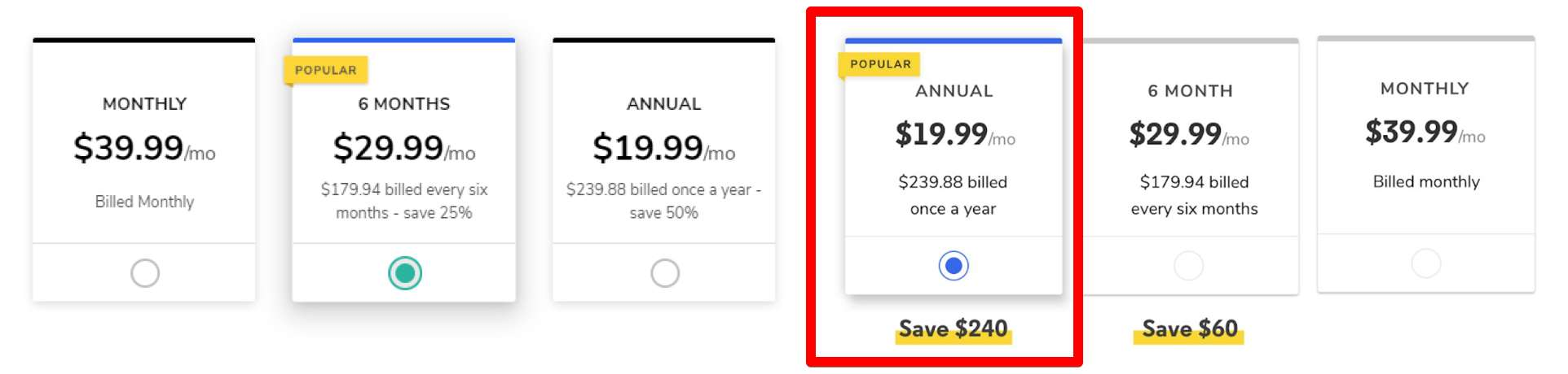 Showing the savings of the yearly plan in dollar amount – not percentage | 28.00%
