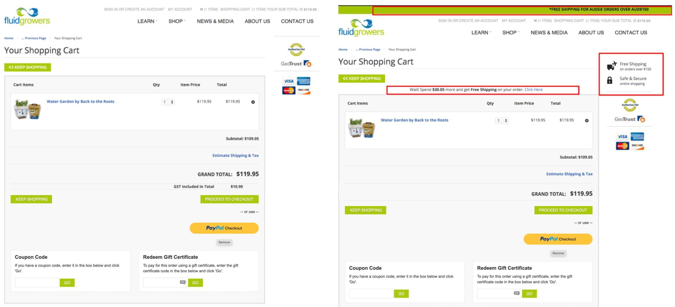Adding free shipping information to the cart page   +39%
